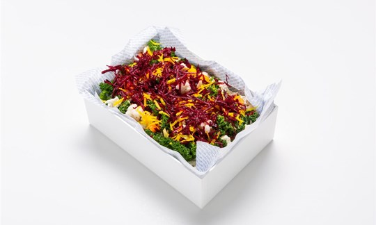 Super salad - raw beetroot, carrot, kale, toasted nuts, infused green tea dressing (GF/V)