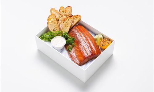 Miso glazed house smoked salmon,  horseradish whip
