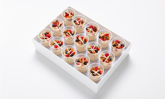 Bircher muesli, seasonal berries, mix roasted seeds and nuts