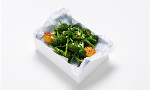 Charred broccolini, green beans, citrus garlic dressing, flaked almonds