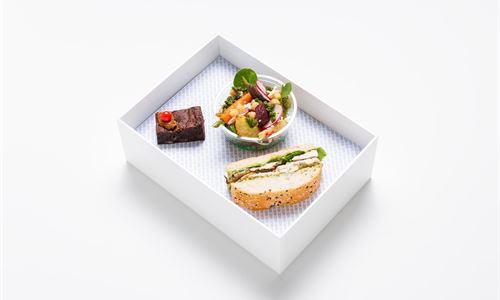 Bento - Kiwi box, chicken turkish sandwich, roasted kumara, spinach and quinoa salad, jaffa chocolate brownie