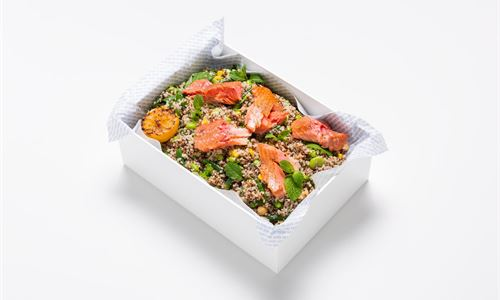 Hot smoked salmon, minted quinoa, edamame, broad bean