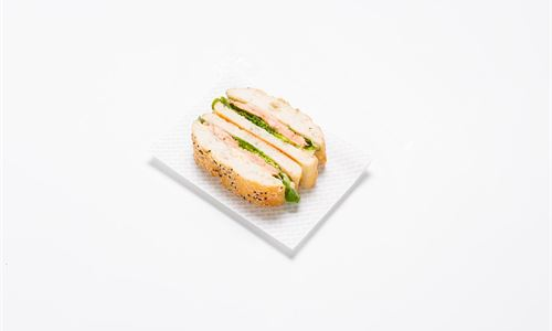 Turkish sandwich - Hot smoked salmon, baby cos, cucumber, horseradish mayo