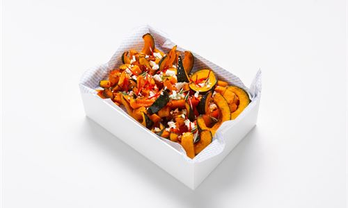 Roasted pumpkin, crumbled feta and chilli