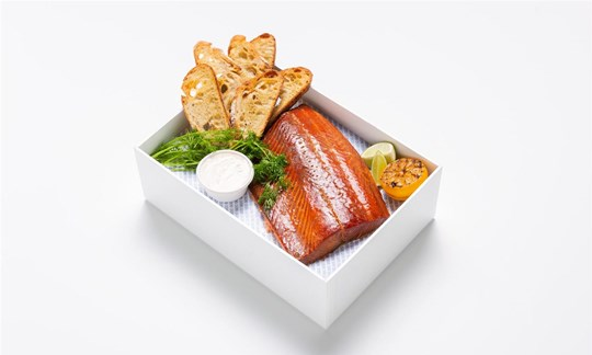 Hot smoked salmon, horseradish cream, charred sourdough