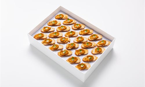 Roast carrot harissa crostini, crème fraiche
