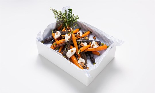 Honey drizzled heirloom carrots, ricotta and walnuts