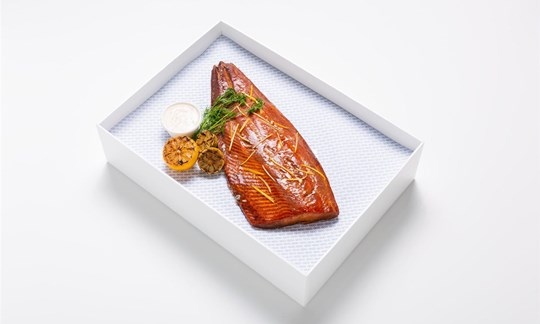 Maple cured hot smoked salmon, dill and horseradish crème fraiche