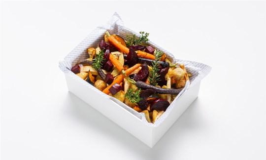 Roasted root veg, pesto, pumpkin seeds (GF/V)