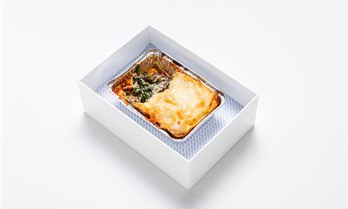 Eggplant, pumpkin, spinach, tomato and ricotta lasagna (V)