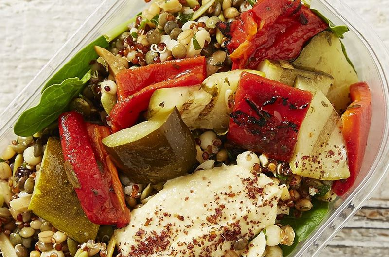 Grilled Zucchini, Grain & Seed Platter