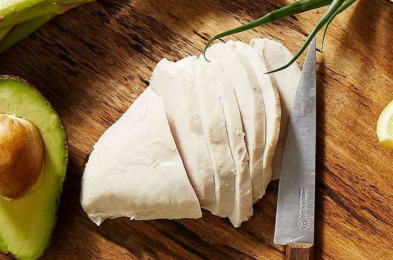 Poached free-range chicken breasts