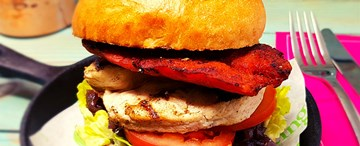 Grilled Chicken & Chorizo Burger with House Slaw & Sweet Chilli Jam
