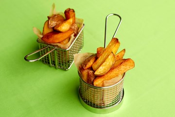 Triple Cooked Chunky Chips with Rosemary Salt, Parmesan & Smoked Tomato Sauce