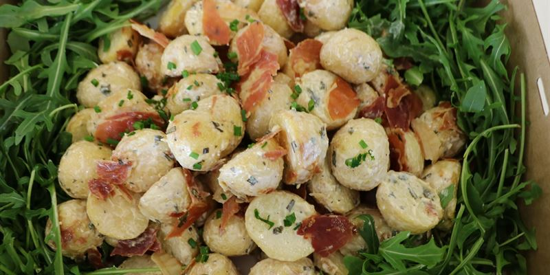 Roasted baby chat potato salad