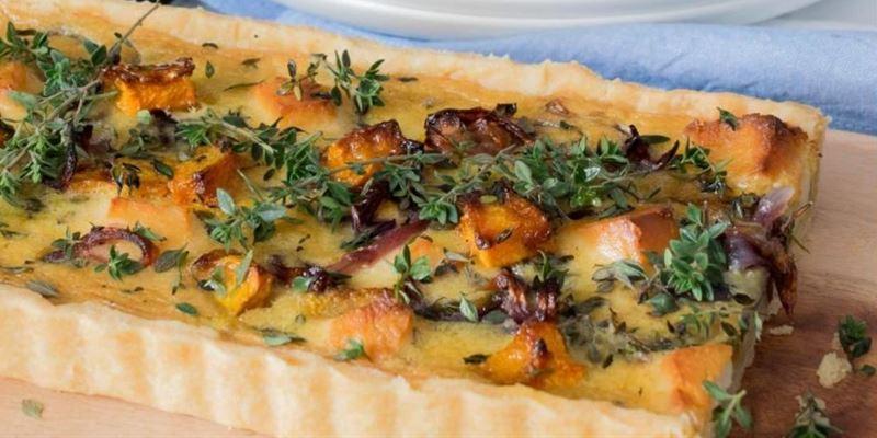 Pumpkin, leek and Swiss cheese Quiche