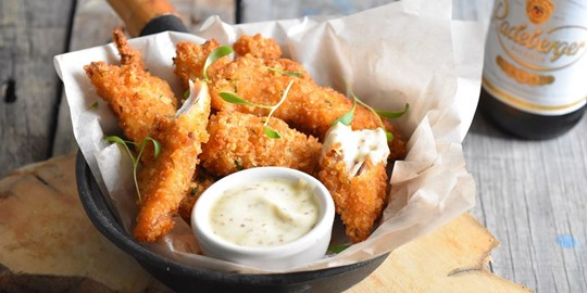 Chicken Goujons with an aioli dipping sauce (NF) (2 per serve)