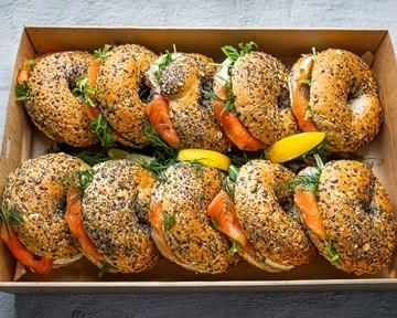 Huon smoked salmon bagel