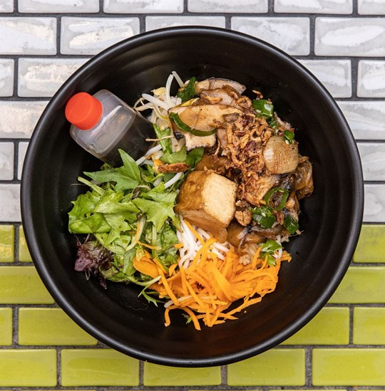 Medium Vermicelli Noodle Salad - Vegan Sauteed Shitake, Enoki & Shimeji Mushrooms