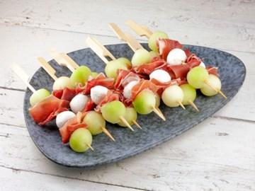 Melon, Prosciutto, Mozzarella Skewers