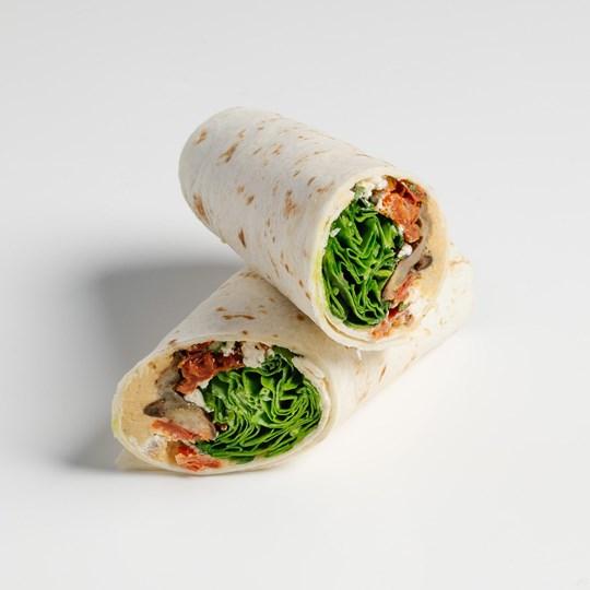 Cauliflower & Broccoli Slaw with Spiced Hummus Wrap (Vegan)