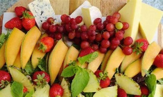 Seasonal fruit and cheese platter