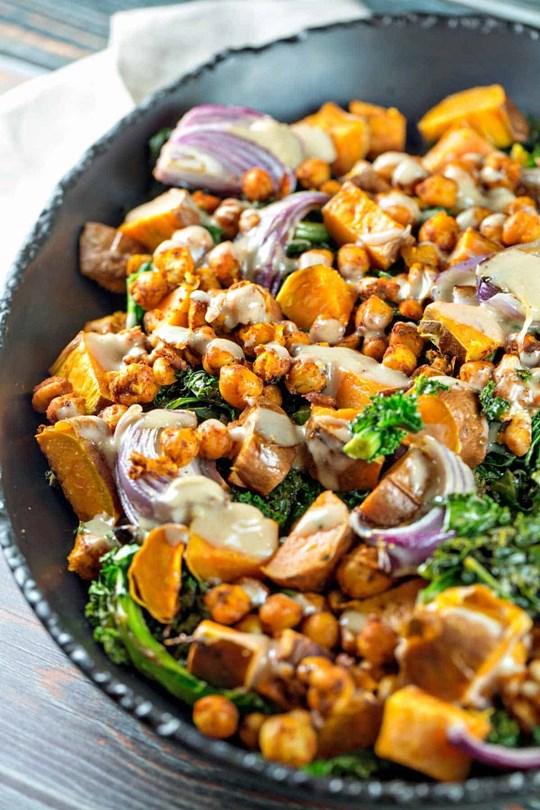 Chickpea, sweet potato and kale salad
