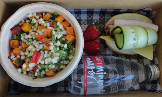 Salad and baby baguette Lunch box