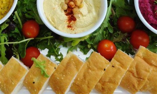 Dip and turkish bread platter