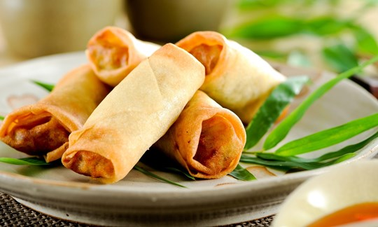 Peking duck spring rolls served with hoisin sauce