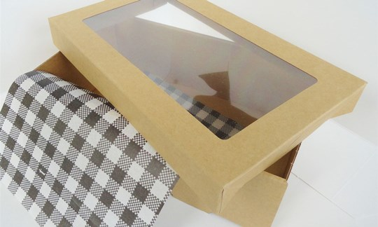 Cardboard tray and lid with recyclable clear window upgrade