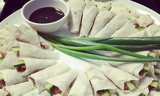 Peking duck crepes