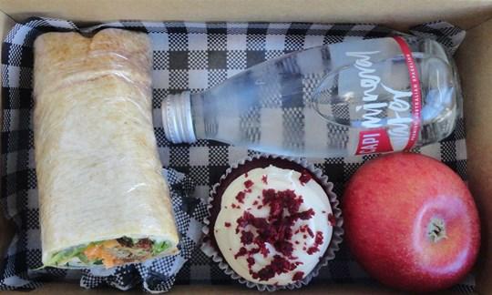 Vegan wrap and cupcake Lunch box