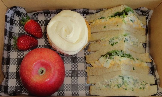 Sandwich, fruit and cupcake Lunch box