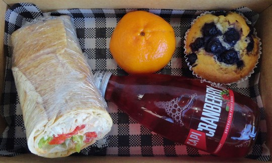 Wrap, muffin and drink Lunch box