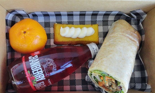 Gluten free wrap and drink Lunch box