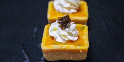 Roast Pumpkin Caramelized Onion, Pine Nuts & Goats Cheese Tart