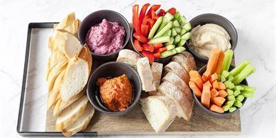GF + Vegan - Dips Platter served with crudite & toasted vegan + GF bread