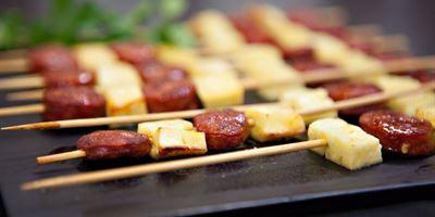 Grilled Honey Glazed Chorizo & Haloumi Skewers