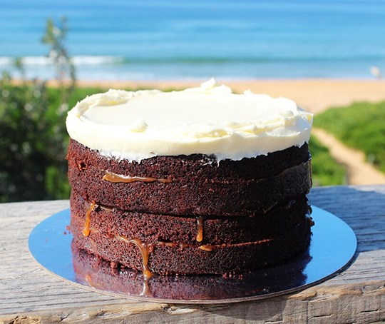 Chocolate salted caramel cake with cream cheese icing