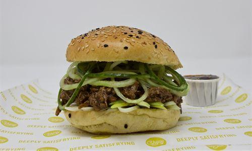 Shredded duck burger
