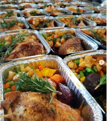 Herbed Roast Chicken with baked veges & gravy