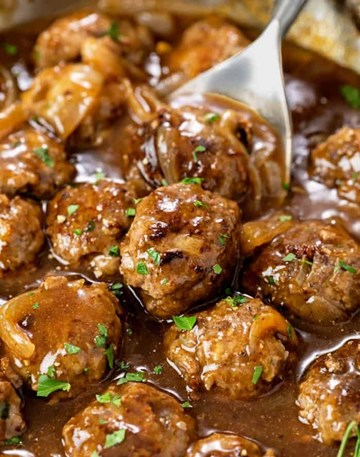 Pork and Veal Meatballs in Gravy with Potato Mash and Greens- Large Tray (serves 4-6)