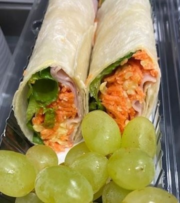 Ham, Cheese & Salad Wrap with Fruit