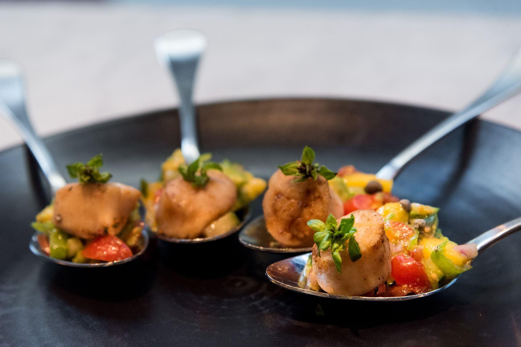 Byron Bay Seared Scallops w/ Avocado & Mango Salsa