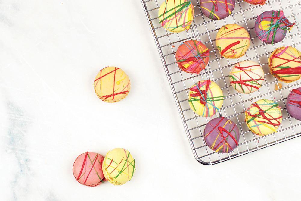 Vivid splashed coloured macaron (v)