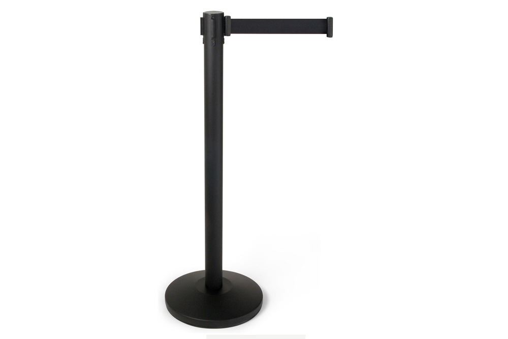 Hire: black retractable barrier post