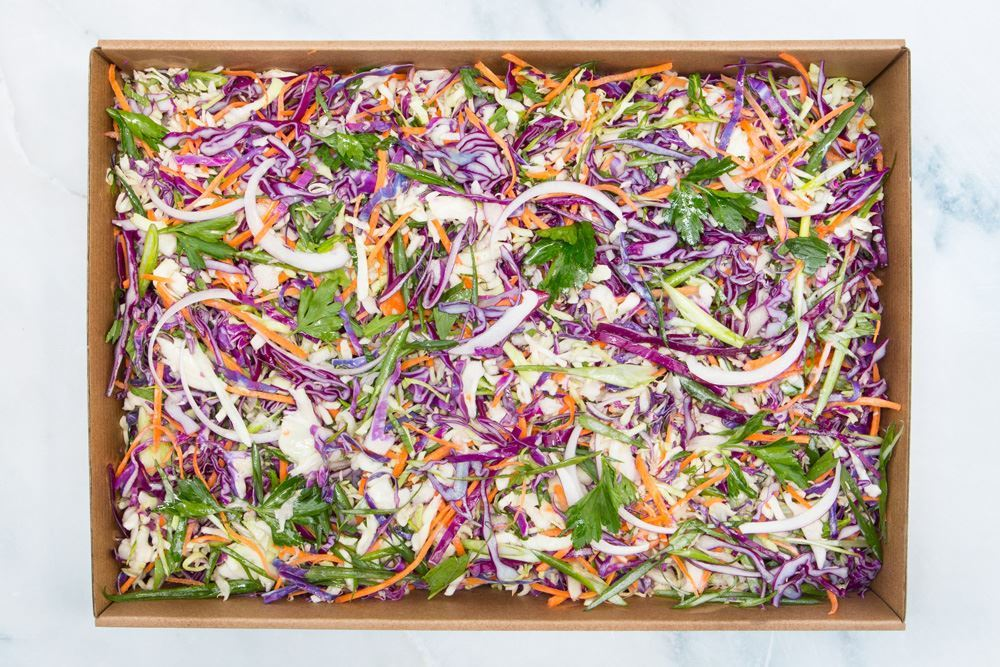 House slaw: cabbage, carrot, spanish onion, shredded mint, parsley & buttermilk dressing (v/gf)