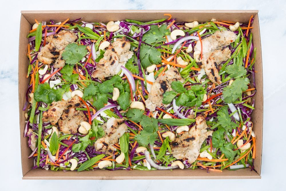 BBQ lemongrass chicken salad: asian slaw, toasted cashews, fried shallots & nam jim (gf/df)