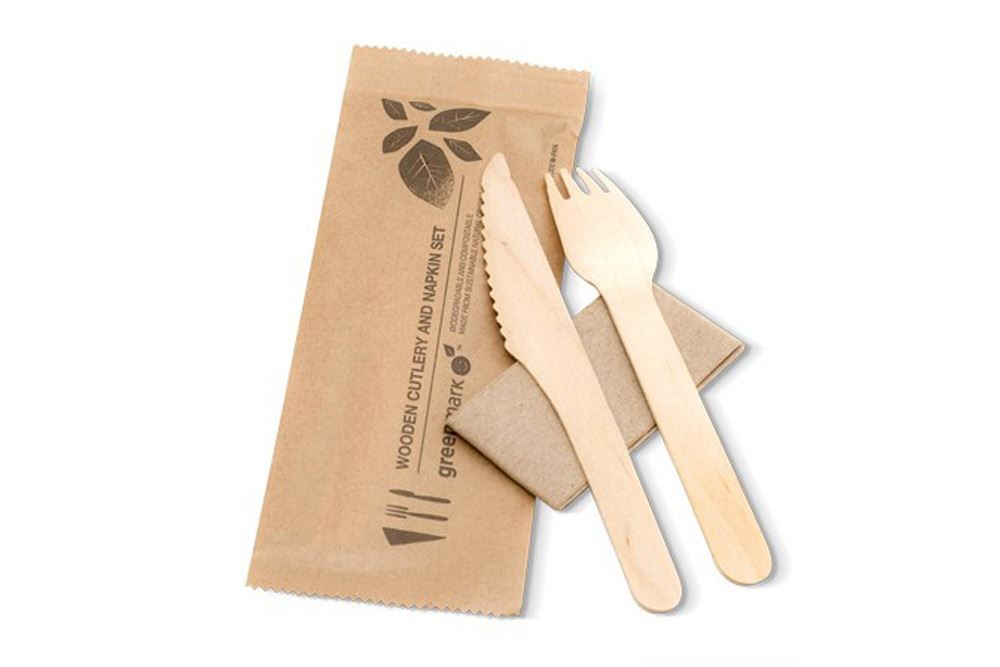 Cutlery pack: Wooden knife, fork, spoon & napkin